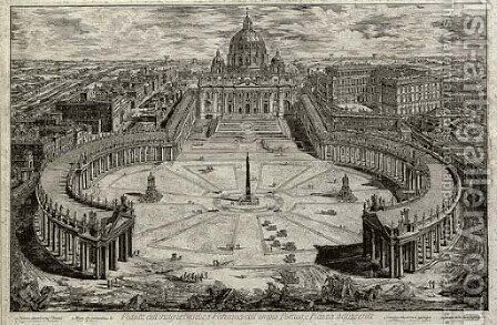 Saint Peter's with Forecourt and Colonnades A Bird's-eye View by Giovanni Battista Piranesi - Reproduction Oil Painting