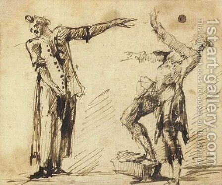 Two gesturing figures by Giovanni Battista Piranesi - Reproduction Oil Painting