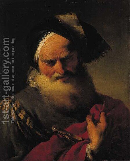An astronomer in oriental robes, a caliper in his right hand by Giovanni Battista Pittoni the younger - Reproduction Oil Painting