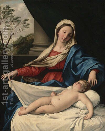 The Madonna adoring the sleeping Child by Giovanni Battista Salvi, Il Sassoferrato - Reproduction Oil Painting