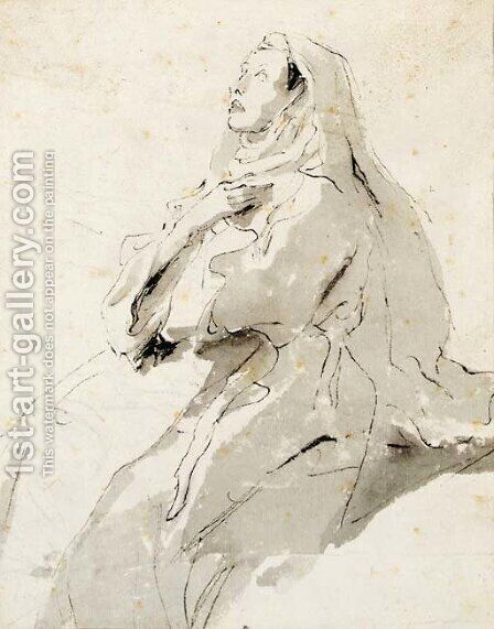 A female saint in ecstasy by Giovanni Battista Tiepolo - Reproduction Oil Painting
