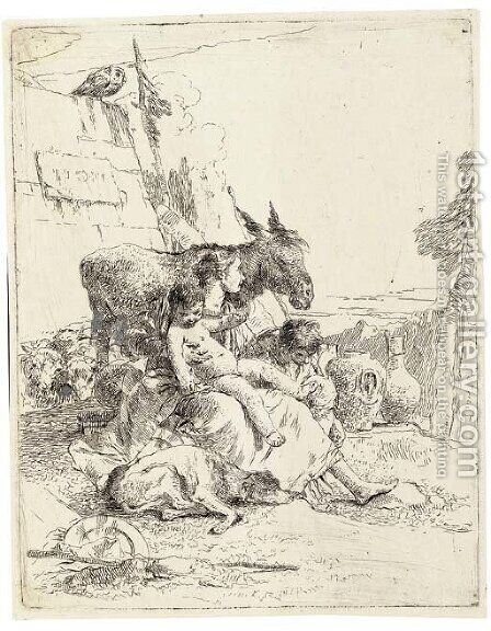 A Mother with two Children, from Scherzi (Rizzi 24) by Giovanni Battista Tiepolo - Reproduction Oil Painting