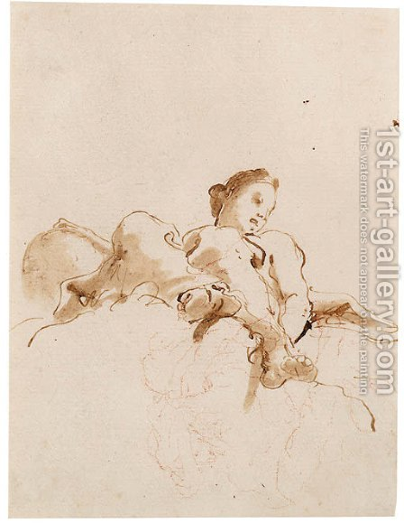 A seated female figure holding a globe, seen from below by Giovanni Battista Tiepolo - Reproduction Oil Painting