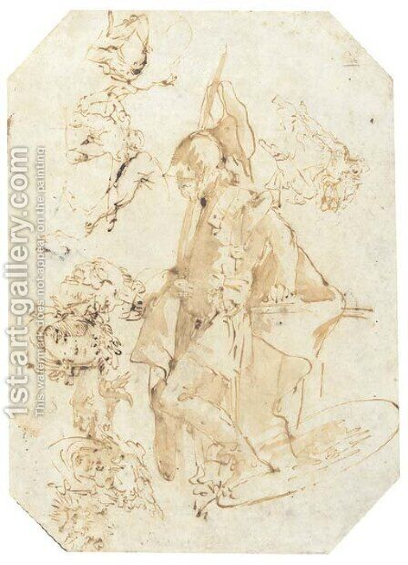 A standing soldier, with studies of heads and figures seen di sotto in su by Giovanni Battista Tiepolo - Reproduction Oil Painting