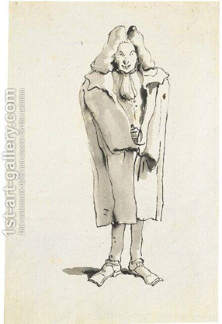 Caricature of a man wearing an overcoat by Giovanni Battista Tiepolo - Reproduction Oil Painting