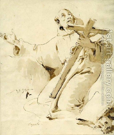 Saint Francis kneeling, holding a crucifix by Giovanni Battista Tiepolo - Reproduction Oil Painting