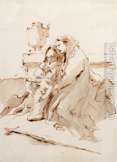 The Holy Family resting by an urn by Giovanni Battista Tiepolo - Reproduction Oil Painting