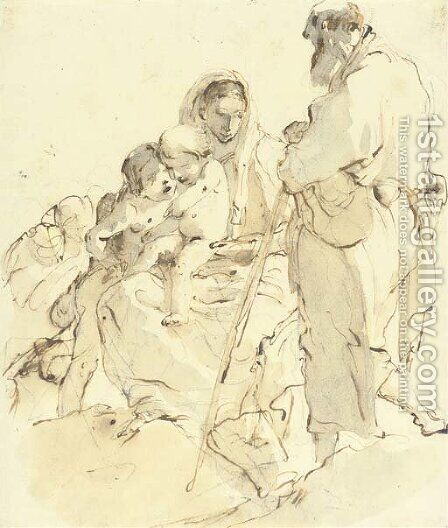 The Holy Family with the Infant Baptist by Giovanni Battista Tiepolo - Reproduction Oil Painting
