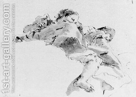 Two figures seated on a cloud, seen de sotto in su by Giovanni Battista Tiepolo - Reproduction Oil Painting