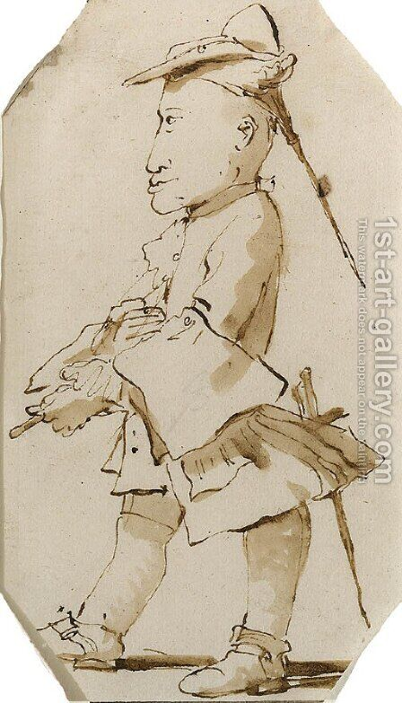 Caricature of a Gentleman, in profile to the left by Giovanni Battista Tiepolo - Reproduction Oil Painting