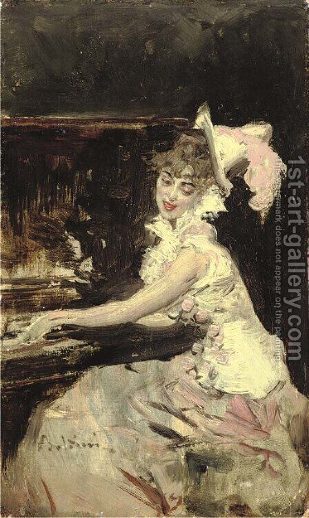 Signora al Pianoforte by Giovanni Boldini - Reproduction Oil Painting