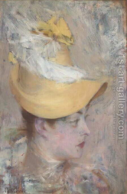 Testa di signora con capellino giallo (Il cappello giallo) by Giovanni Boldini - Reproduction Oil Painting