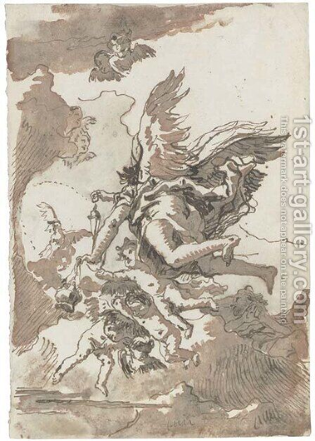 A group of angels in flight, one holding a censer by Giovanni Domenico Tiepolo - Reproduction Oil Painting