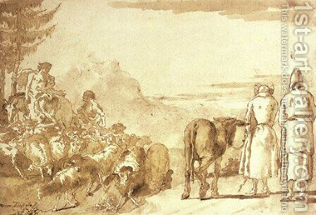 A pastoral scene with two shepherds tending their flock and a peasant couple leading a donkey by Giovanni Domenico Tiepolo - Reproduction Oil Painting
