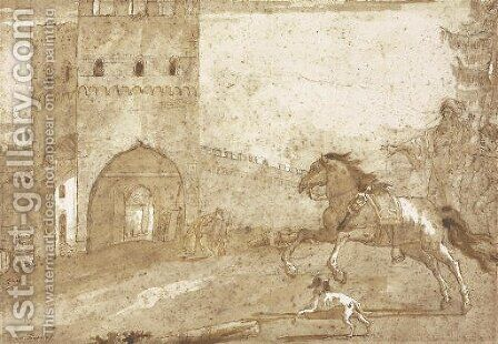 A riderless horse galloping in front of a fortified tower, a Punchinello lying on the ground in the distance by Giovanni Domenico Tiepolo - Reproduction Oil Painting