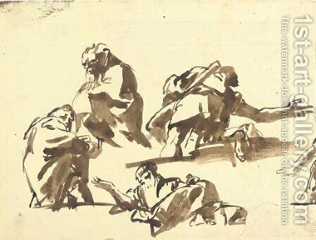 Four studies of men seen di sotto in su by Giovanni Domenico Tiepolo - Reproduction Oil Painting