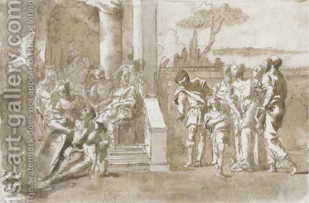 Iphegenia led to the Council of Agamemnon by Giovanni Domenico Tiepolo - Reproduction Oil Painting