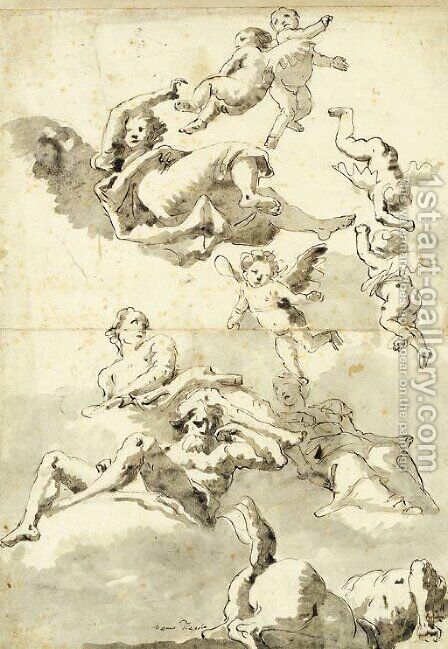 Rivergods, putti and other figures, and a centaur in the sky Study for a ceiling by Giovanni Domenico Tiepolo - Reproduction Oil Painting