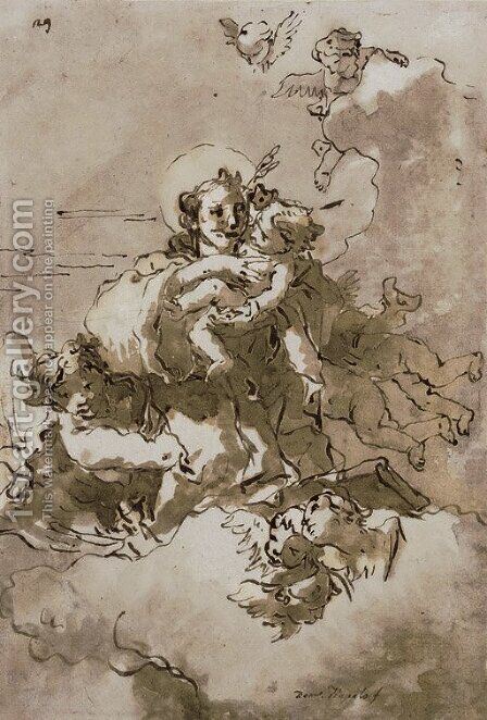 Saint Anthony and the Christ Child with angels and putti by Giovanni Domenico Tiepolo - Reproduction Oil Painting