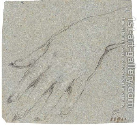 Study of a left hand by Giovanni Domenico Tiepolo - Reproduction Oil Painting