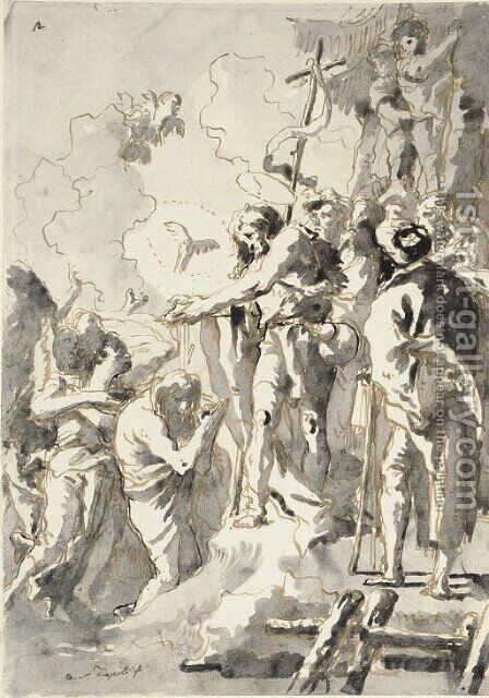 The Baptism of Christ by Giovanni Domenico Tiepolo - Reproduction Oil Painting