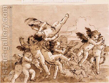 Angels in Flight, one holding a palm by Giovanni Domenico Tiepolo - Reproduction Oil Painting