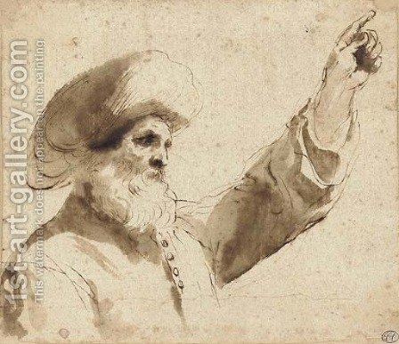 A man wearing a turban in profile to the left, raising his left hand, bust-length by Giovanni Francesco Guercino (BARBIERI) - Reproduction Oil Painting