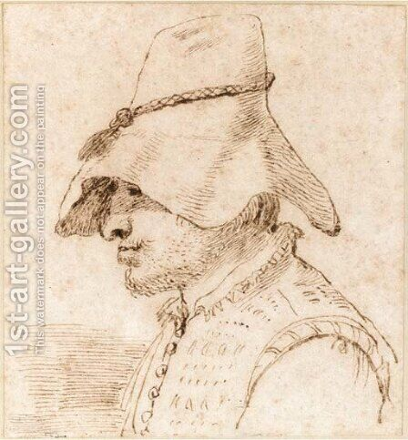Caricature of a man in a hat in profile to the left, bust length by Giovanni Francesco Guercino (BARBIERI) - Reproduction Oil Painting