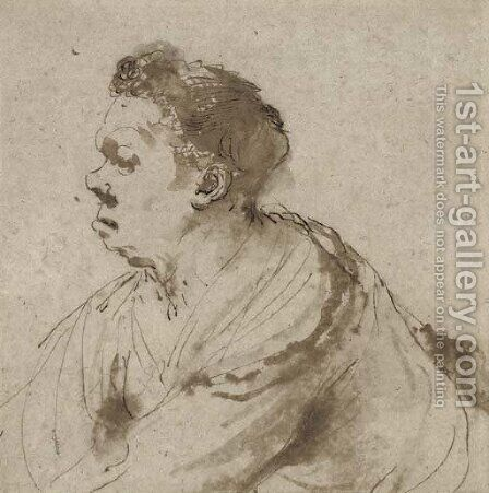 Caricature of a man, half-length, in profile to the left by Giovanni Francesco Guercino (BARBIERI) - Reproduction Oil Painting