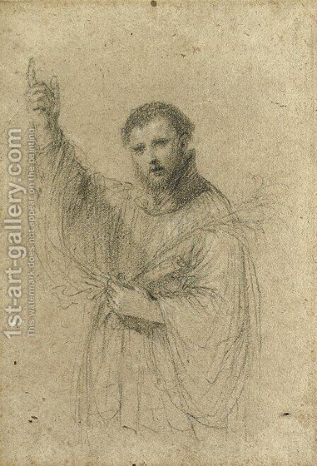 Saint Francis Xavier holding a lily by Giovanni Francesco Guercino (BARBIERI) - Reproduction Oil Painting
