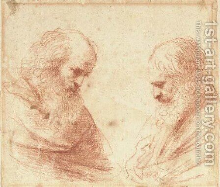 Two bearded men, bust-length, looking down by Giovanni Francesco Guercino (BARBIERI) - Reproduction Oil Painting