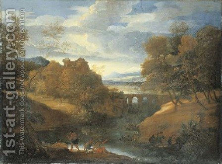 A classical river landscape with figures fishing by Giovanni Francesco Grimaldi - Reproduction Oil Painting
