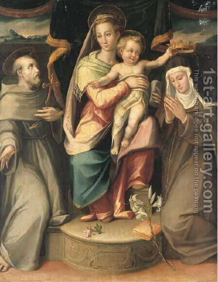 The Madonna and Child with Saints Francis and Clare by Giovanni Maria Butteri - Reproduction Oil Painting