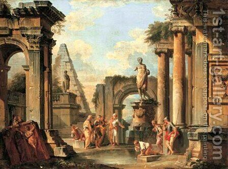A capriccio of classical ruins with Diogenes throwing away his cup by Giovanni Paolo Panini - Reproduction Oil Painting
