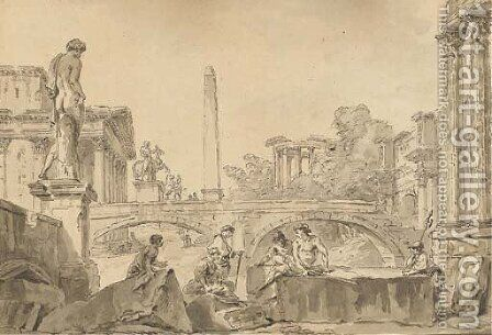 A capriccio with the Temple of Vesta, the Arch of Constantine, an obelisk, the Dioscuri and figures resting on ruins in the foreground by Giovanni Paolo Panini - Reproduction Oil Painting