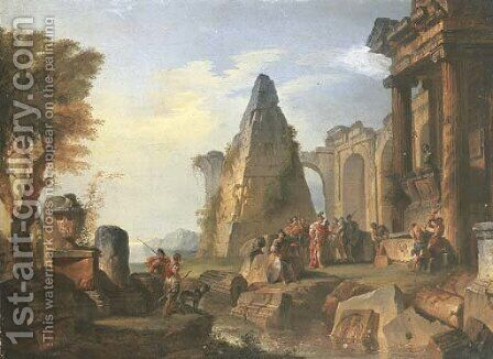 An architectural capriccio with Alexander visiting the Tomb of Achilles by Giovanni Paolo Panini - Reproduction Oil Painting