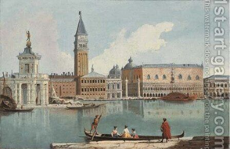 The Doge's Palace, Venice, with the Dogana and the Molo, from the Giudecca by Giovanni Richter - Reproduction Oil Painting
