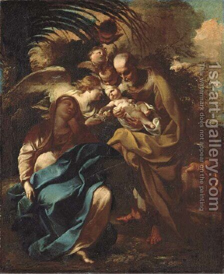 The Rest on the Flight into Egypt by Giovanni Stefano Robatto - Reproduction Oil Painting