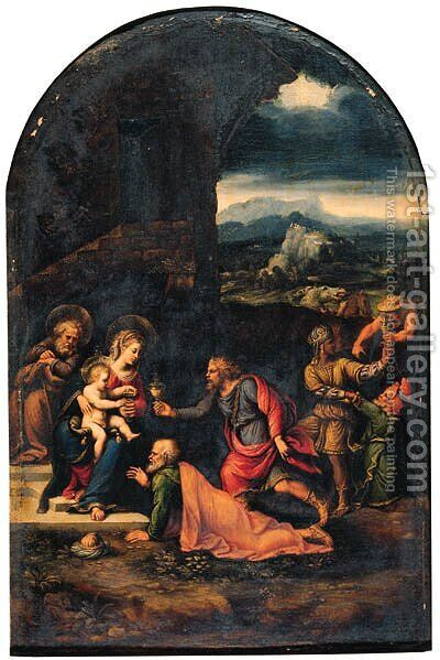 The Adoration of the Magi by Girolamo da Carpi - Reproduction Oil Painting