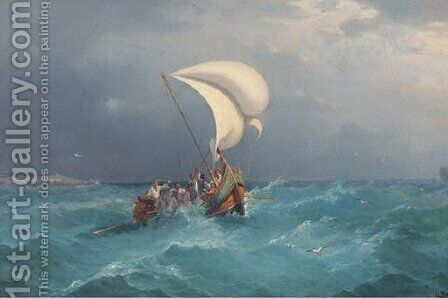 A Gozo boat in St. Paul's Bay, Malta by Girolamo Gianni - Reproduction Oil Painting