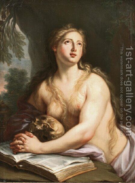 The Penitent Saint Mary Magdalene by Girolamo Pesci - Reproduction Oil Painting