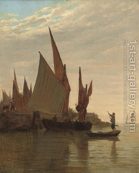 Barges on the Venetian coast by Giulio Cecchini Prichard - Reproduction Oil Painting