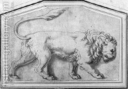 A lion moving to the right by Giulio Romano (Orbetto) - Reproduction Oil Painting