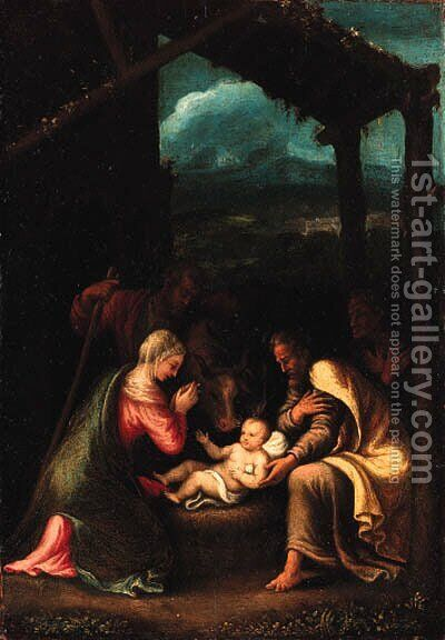 The Nativity by Giulio Romano (Orbetto) - Reproduction Oil Painting