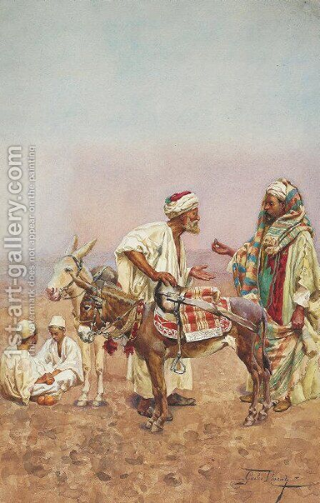 One Dirham for a Ride through the Desert by Giulio Rosati - Reproduction Oil Painting