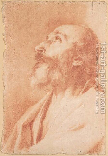 The prophet Isaiah looking up, bust-length by Giuseppe Antonio Petrini - Reproduction Oil Painting