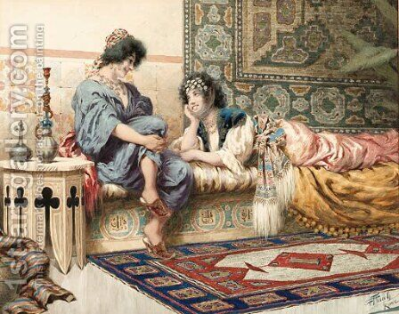 Gossips in the harem by Giuseppe Aureli - Reproduction Oil Painting