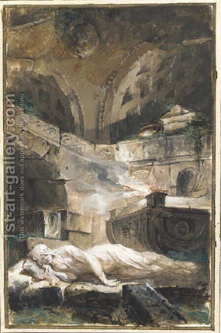 A vestal virgin reclining near a holy fire in a tomb by Giuseppe Bernardino Bison - Reproduction Oil Painting