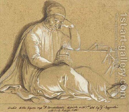 Brunelleschi, seated, holding a model of the dome of Florence Cathedral by Giuseppe Bezzuoli - Reproduction Oil Painting