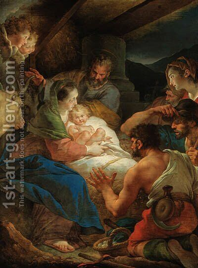 The Adoration of the Shepherds by Giuseppe Cades - Reproduction Oil Painting